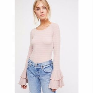 FREE PEOPLE Good Find Striped Bell Sleeve Top XS